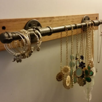 Industrial Jewelry Holder; Jewelry Display; Iron Pipe Jewelry Bar; Wall Mounted Jewelry Bar