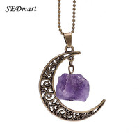 SEDmart Handmade Natural Amethyst Rose Quartz Antique Bronze Galaxy Moon Pendant Necklace Healing Stone Christmas Gift Jewelry