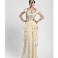 Sue Wong 2014 Dresses - Champagne Chiffon & Sequin Lotus Gown