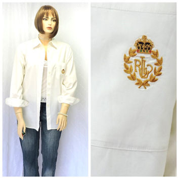 Vintage 80s Ralph Lauren soft white cotton oxford shirt L 1980s Lauren preppy long sleeve button down oxford blouse size 14 SunnyBohoVintage