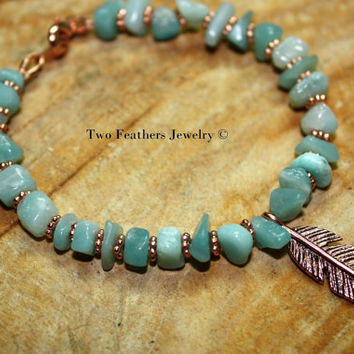 Amazonite And Copper - Amazonite Bracelet - Copper Bracelet - Copper Feather Bracelet - Semiprecious Gemstone Bracelet - Made In USA
