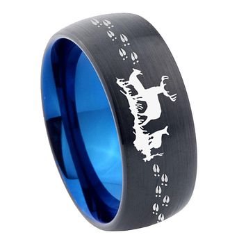 8mm Deer Hunting Dome Tungsten Carbide Blue Wedding Band Mens