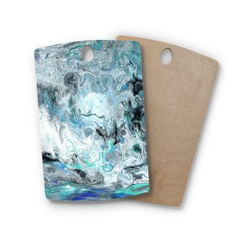 "Catherine Holcombe ""Wave Crash Marble"" Blue Teal Abstract Coastal Painting Rectangle Wooden Cutting Board"