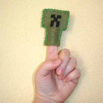 Minecraft geeky finger puppet  Creeper by Geektique on Etsy