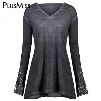 Plus Size 5XL Casual Tunic Lace Crochet Hooded Velvet Top Autumn 2017 T-shirt Long Sleeve Women Clothes Big Size T Shirt