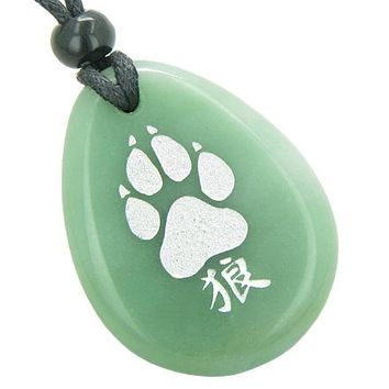 Lucky Wolf Paw Kanji Good Luck Amulet Green Aventurine Wish Totem Gem Stone Necklace Pendant