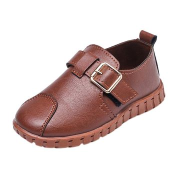 Toddler Kids Soft Sole PU Leather Shoes Girls Boys Baby Buckle Crib Soft Sole Sneakers Single Casual Fashion Shoes 2-6T