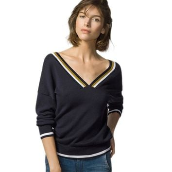 Women Sweaters And Pullovers Sexy v Neck Backless Pullover Tricot Ugly Christmas Striped Sweater Warm Women Sweaters P6C1070