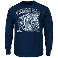 Seattle Seahawks Super Bowl XLVIII Champions Victory Bling V Long Sleeve T-Shirt - College Navy