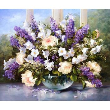 Frameless Acrylic Picture Lavender DIY Painting By Numbers Kits Drawing Paint On Canvas Wall Art For Home Decor Artwork 40x50cm