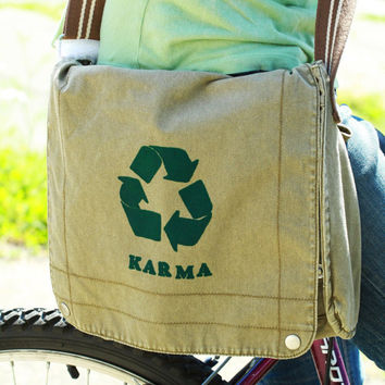 Karma recycle messenger bag by SpencerButteInk on Etsy