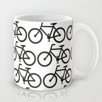 Bicycle Stamp Pattern - Black and White - Fixie Fixed Gear Bike Mug by Corrie Jacobs