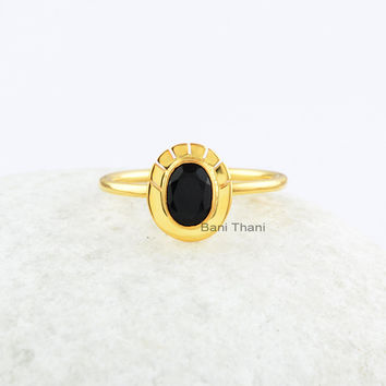 Handmade Black Onyx Ring-925 Sterling Silver Ring-Oval 5x7mm-Bezel Engagement Ring-Wedding Ring