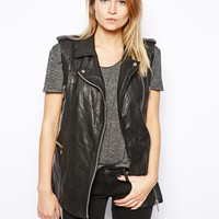 Mango Leather Biker Sleeveless Jacket