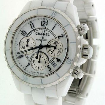 Chanel J12 41mm H1077 Chronograph White Ceramic $7,850.00 Automatic watch.