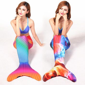 Adult Swimmable Lycra Mermaid Tail One-Piece Suits 3d Full Scale Printing Mermaid Tail with Diving Fins Swimming One-Piece Suits