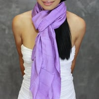 Violet Scarf - Silk Cotton Scarf - Hand Dyed Scarf, infinity, shawl, violet wrap, headband, perfect birthday present - JooJoobs