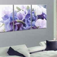 Modern Art Large Canvas Wall Art 3 Piece Canvas Art Unstretch and No Frame with The art of blue flowers unknown