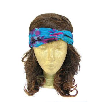 Twisted Head Wrap, Turban Headwrap, Twisted turban Headband, Tie Dye Headband, Workout Headband, Knotted Turban Headband