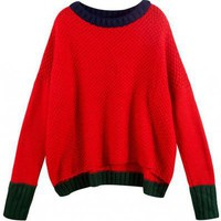Color Matching Sweater Red ( color) style sweater432 in  Indressme