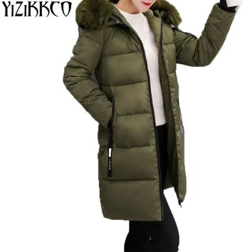 Long Parka Women Large Fur Collar Hooded Winter Coat Zipper 2017 Fashion Girl Jacket Women cotton Coat Casual Sweater LG002