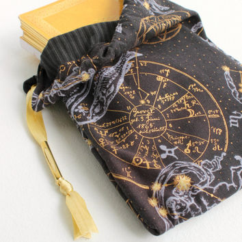 Tarot bag black & gold zodiac fabric fully lined + cloth, Personalized tarot bag. Tarot bag + Cloth set for tarot cards. Fit big size pack.