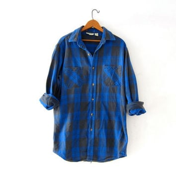 Vintage Plaid Flannel / Grunge Shirt / Boyfriend button up shirt / blue checkered lumberjack