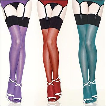 30d Sexy Womens contrast color thigh high Stockings ,multi color vintage long shiny Stockings,oil flashing Leggings