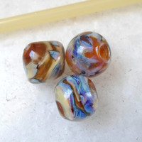 Lampwork Beads, Silvered Glass Beads, Handmade Artisan Jewelry Supplies for Lampwork Jewelry