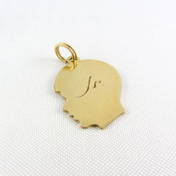 "Vintage 10K Gold Boy Silhouette Charm Pendant Engraved ""Jr."" Yellow Gold Profile Charm Fine Jewelry"