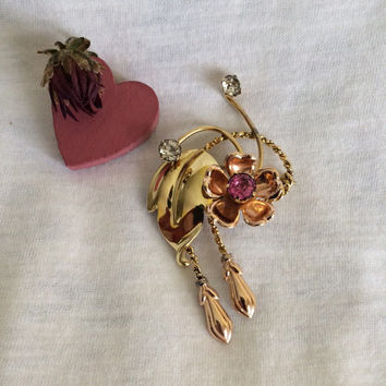 Van Dell Vintage Gold Flower Brooch 1930's or 1940's Collectible Rose Pin 12K Gold Filled Floral Brooch with Buds Pink White Rhinestones