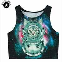 2017 Summer Womens Crop Tops 3d Animal Tiger Lion Galaxy Weed Flower Skull Sexy Women Tank Top Cropped Fitness Boby T Shirt