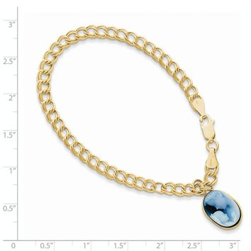 14k Yellow Gold 7inch 10x14 Agate Cameo With Sentiment Bracelet