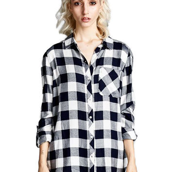 Staccato Button Down Buffalo Plaid Shirt for Women 12659