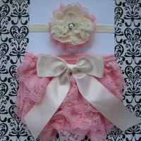 Baby Girls Petti Lace Bloomer Diaper Cover headband set, Pink Lace Diaper Cover, 0-6 months Diaper Cover, great for Baby Shower Gift