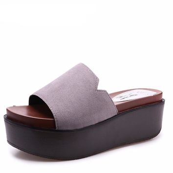 Suede Slip On Platform Sandal Slides
