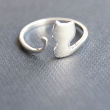 Sterling silver ring,cute cat silver ring,silver cat adjustable ring