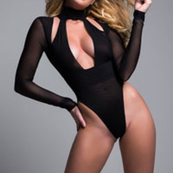 Tia Just A Kiss Bodysuit, black bodysuit - Yandy.com