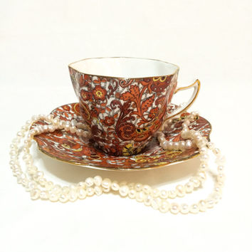 Rosina Paisley Chintz Tea Cup and Saucer, Orange & Yellow, Octagon Shape, English Bone China, 1950s, Vintage Tea Cup
