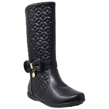 Kids Knee High Boots Quilted Leather Bow Accent Zip Close Riding Shoes Black
