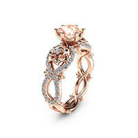 Special Reserved - Peach Pink Morganite Engagement Ring in 14K Rose Gold - first payment