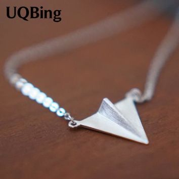 Free Shipping 2015 New Arrivals 925 Sterling Silver Necklaces Paper Airplane Sterling Silver Necklaces&Pendants Collar Colar