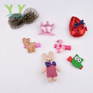 promotional Animal Cartoon Kids Hairpin Crown Hair Accessory Bow Girls Hair Clips Full Cover Hair Pins