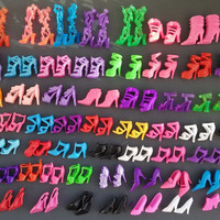 60 Pairs/set Fashion Heels Sandals Doll Shoes For Barbie Dolls Outfit Dress Lots of Designs Xmas Gift For Girl Toy