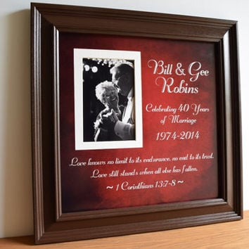 Anniversary Gift, 40th Wedding Anniversary, Parents Anniversary Gift, 40 Year Anniversary, Anniversary Present, Wedding Gift, 15x15 Framed