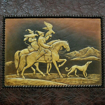 hunting Dog wall hanging, dog leather, 3D, wall hanging, taigan dog, kyrgyz borzoi,chases a wolf
