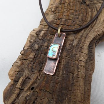 Rustic Copper and Abalone Pendant Necklace, Copper Necklace, Abalone Necklace, Copper Pendant, Abalone Pendant, ColeTaylorDesigns