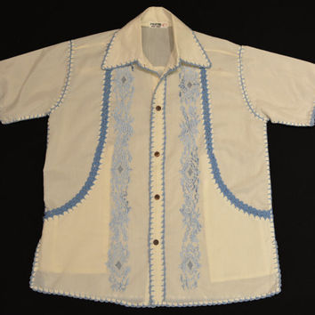 Vintage 60s Handmade Off White and Blue Resort Shirt - Embroidered Crochet Short Sleeve
