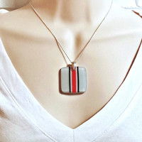 Ohio State Buckeyes Football Helmet Inspired Square Fused Glass Pendant Necklace - Silver Gray