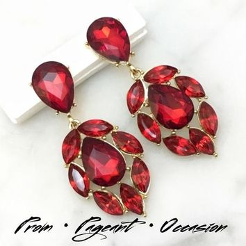 Red Crystal Chandelier Event Earrings